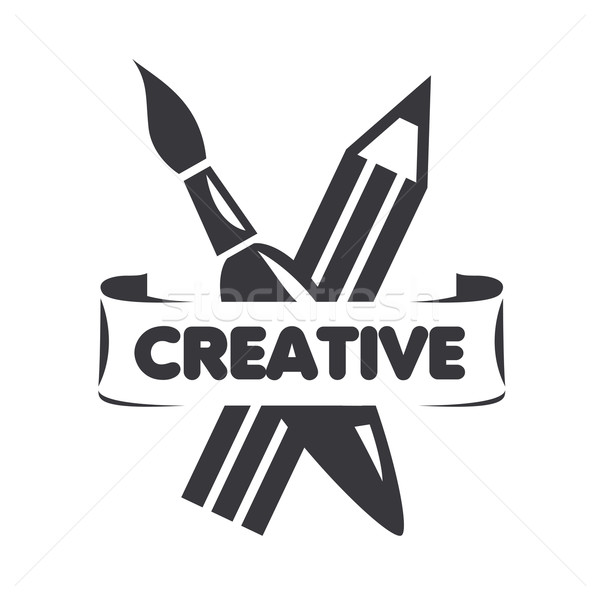 vector logo brush and pencil for creativity Stock photo © butenkow
