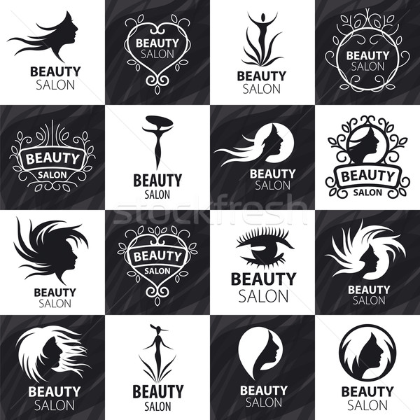 large set of vector logos for beauty salon Stock photo © butenkow