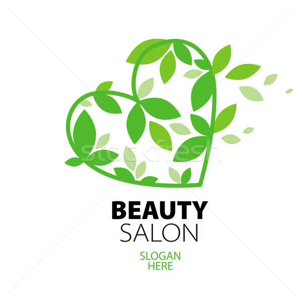 logo heart of green leaves to the beauty salon Stock photo © butenkow