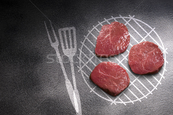 Pezzo carne buio grill sfondo ristorante Foto d'archivio © butenkow