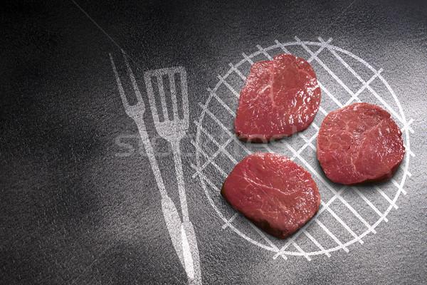 кусок мяса темно гриль фон ресторан Сток-фото © butenkow