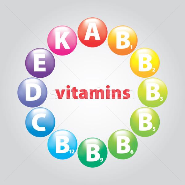 Gyöngyök vitaminok étel terv szépség felirat Stock fotó © butenkow