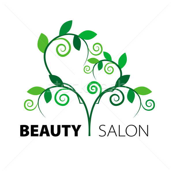 logo tree heart of green leaves in the beauty salon Stock photo © butenkow
