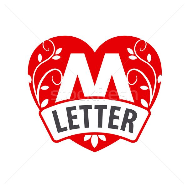 vector logo in the shape of a heart with the letter M Stock photo © butenkow