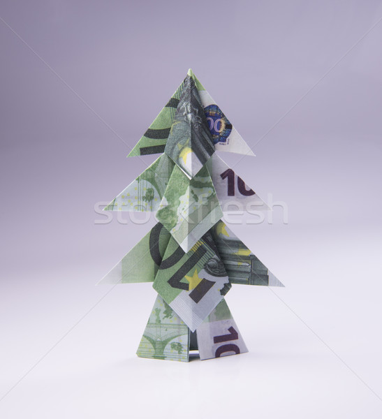 Dollar Bill Origami Christmas Tree - Buy this stock photo and ... | 600x547