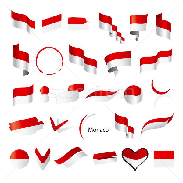 Ensemble vecteur drapeaux Monaco signe modèle Photo stock © butenkow