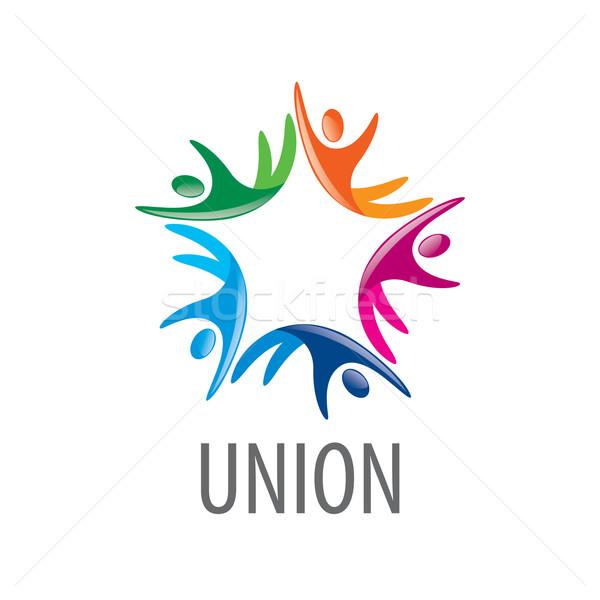 Logo sendika insanlar soyut vektör renkli Stok fotoğraf © butenkow