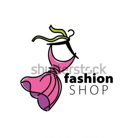 Vektor logo ruházat illusztráció ruha vállfa Stock fotó © butenkow
