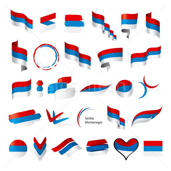 Toplama vektör bayraklar Sırbistan Karadağ imzalamak Stok fotoğraf © butenkow