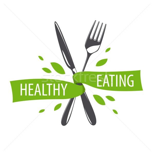 Vetor logotipo garfo faca dieta saudável negócio Foto stock © butenkow