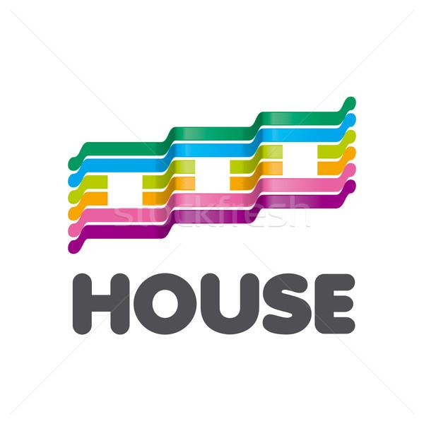 Vector logo a rayas colorido casas resumen Foto stock © butenkow