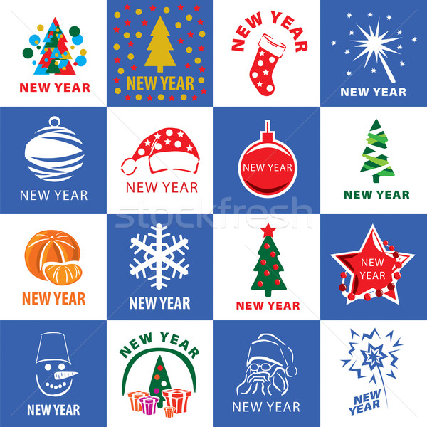biggest collection of vector logos for the new year Stock photo © butenkow