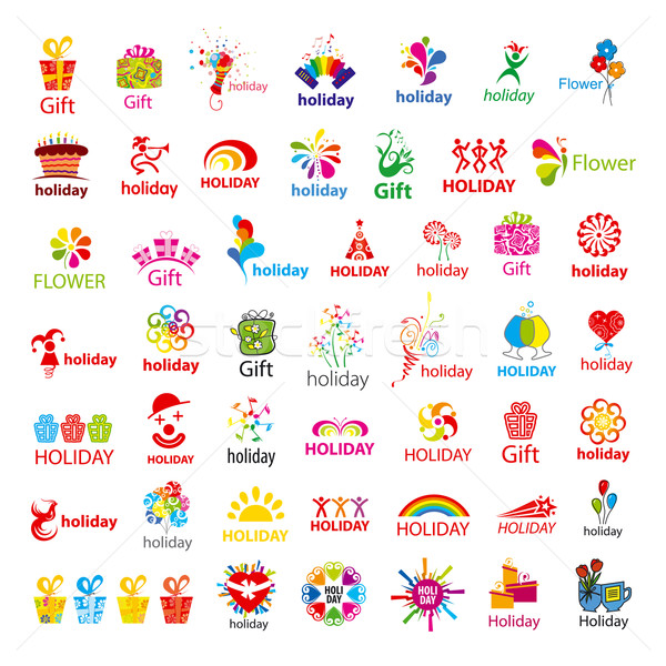 biggest collection of vector logos and holiday gifts Stock photo © butenkow