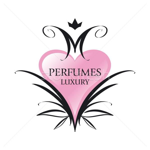 vector logo pink heart for perfumes Stock photo © butenkow