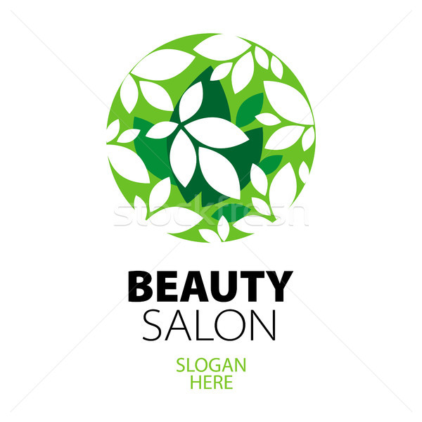 green ball of leaves logo for beauty salon Stock photo © butenkow