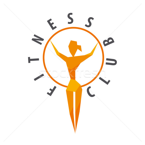 vector logo girl with a hoop for fitness club Stock photo © butenkow