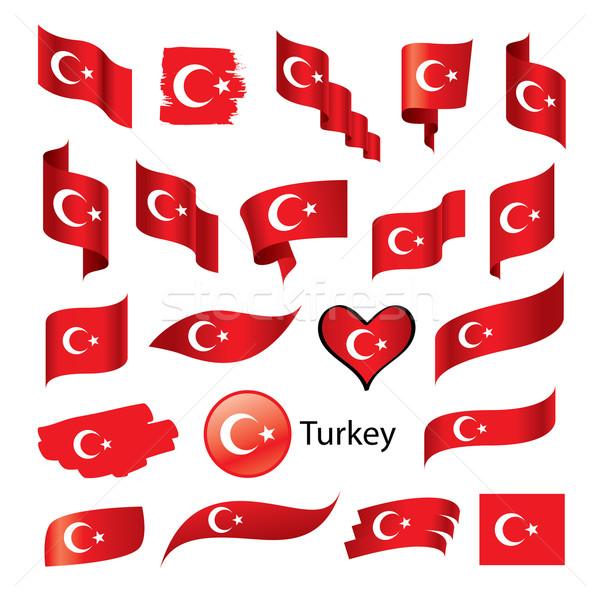 Establecer banderas Turquía vector turco bandera Foto stock © butenkow