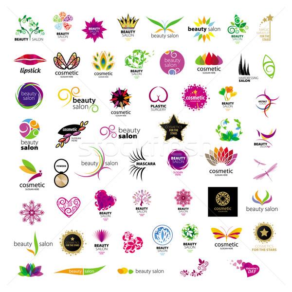 Toplama vektör logolar kozmetik güzellik iş Stok fotoğraf © butenkow