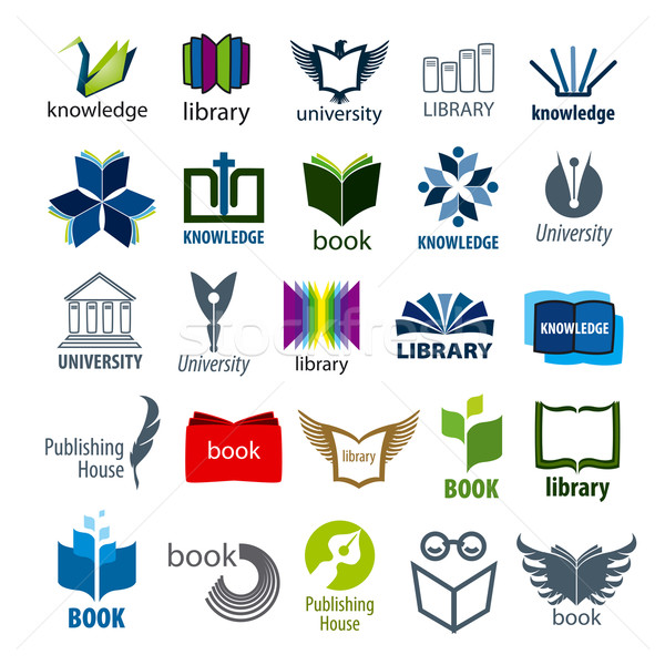 biggest collection of vector logos books and pens Stock photo © butenkow
