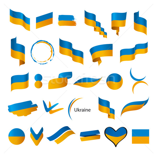 Raccolta vettore bandiere Ucraina segno bandiera Foto d'archivio © butenkow