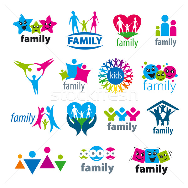 Photo stock: Grand · vecteur · logos · famille · main