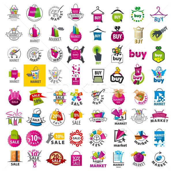 Stok fotoğraf: Büyük · ayarlamak · vektör · logolar · pazar · indirim