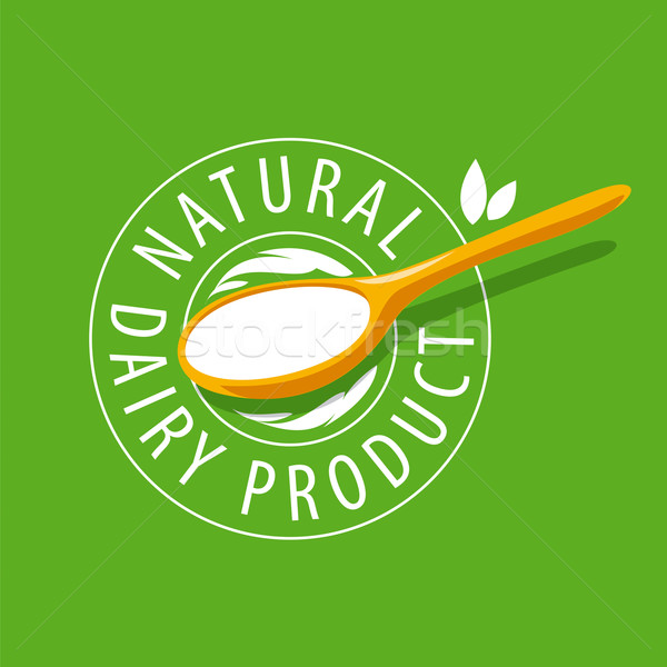 vector logo spoon with milk product Stock photo © butenkow
