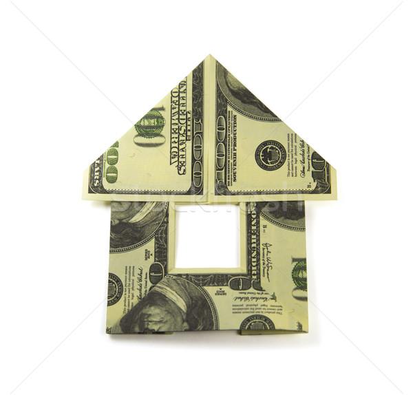 Origami pénz otthon ház bankjegyek épület Stock fotó © butenkow