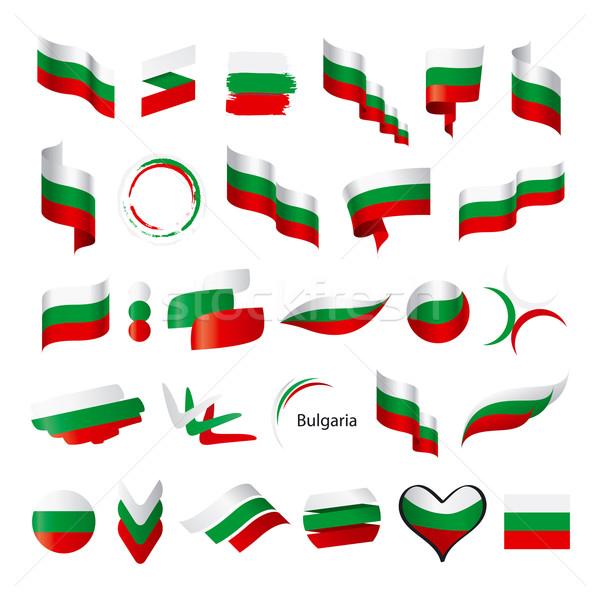Gyűjtemény vektor zászló Bulgária felirat minta Stock fotó © butenkow
