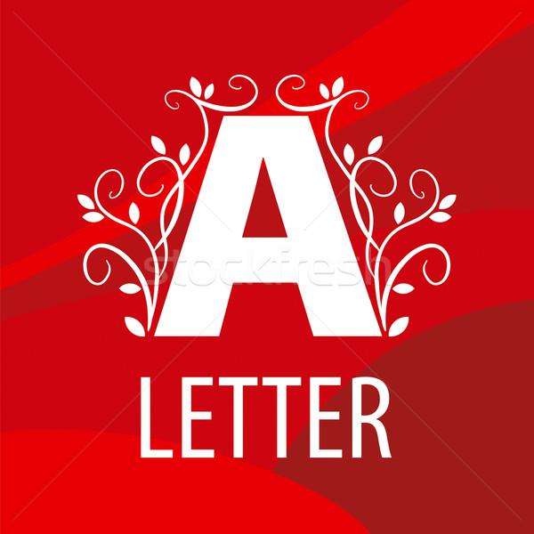 ベクトル ロゴ 手紙 フローラル パターン 赤 ストックフォト © butenkow