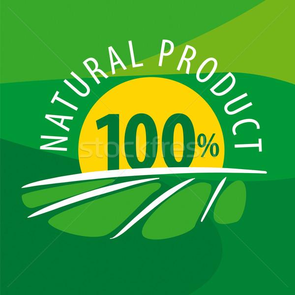 Vector logo zon 100 natuurlijke producten Stockfoto © butenkow