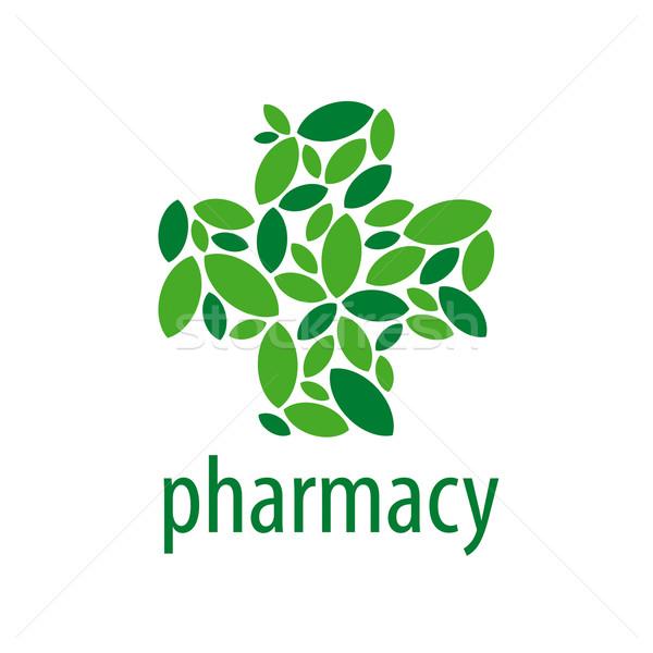 Vektor logo kereszt zöld levelek dizájn elem orvos Stock fotó © butenkow
