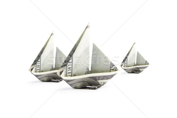 Hajó bankjegyek origami fehér üzlet bank Stock fotó © butenkow