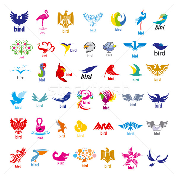 biggest collection of vector logos birds  Stock photo © butenkow