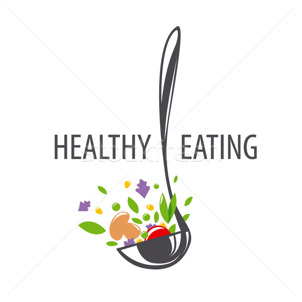 vector logo ladle and vegetables for a healthy diet Stock photo © butenkow