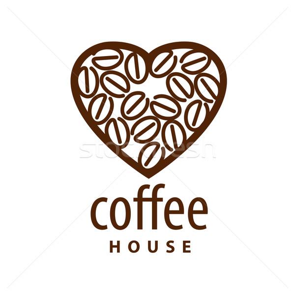 Vetor logotipo grãos de café forma coração amor Foto stock © butenkow