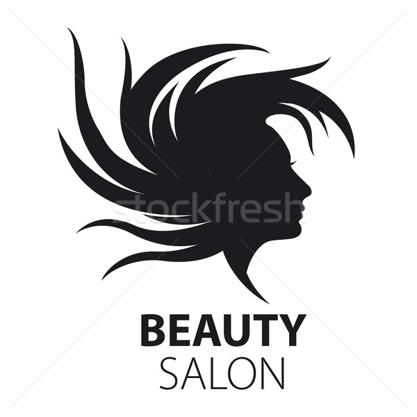 vector logo girl with flying hair for beauty salon Stock photo © butenkow