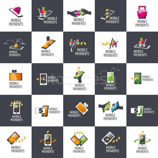 Logo mobile pagamento logo design modello soldi Foto d'archivio © butenkow