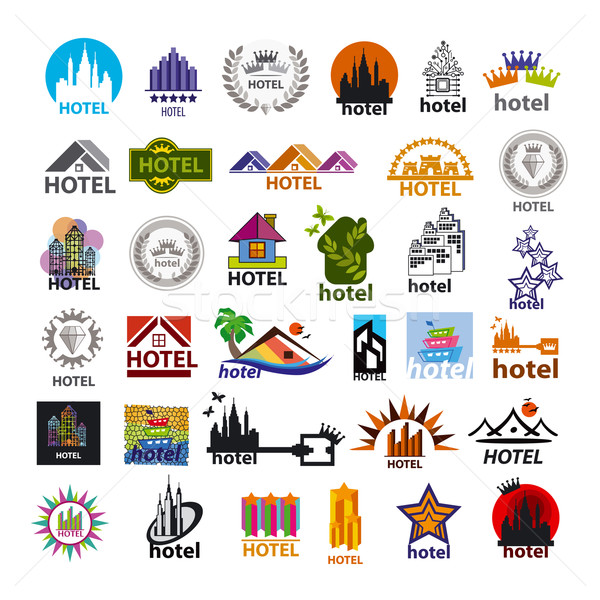 biggest collection of vector logos hotels for leisure tourism Stock photo © butenkow