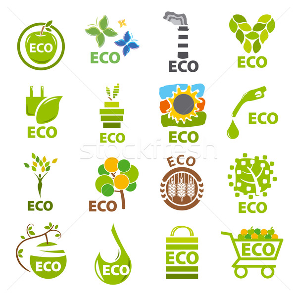 biggest collection of vector logos eco Stock photo © butenkow