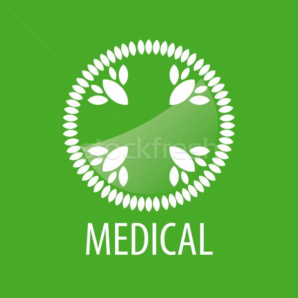 Stok fotoğraf: Vektör · logo · çapraz · yaprakları · yeşil