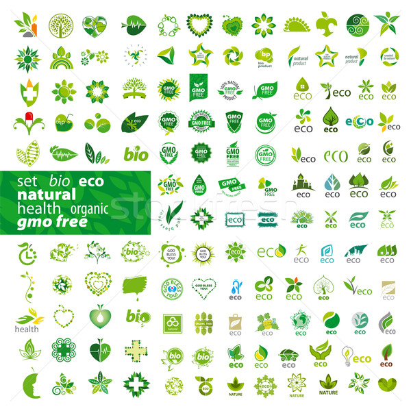 Mare set vector logos ecologie sănătate Imagine de stoc © butenkow