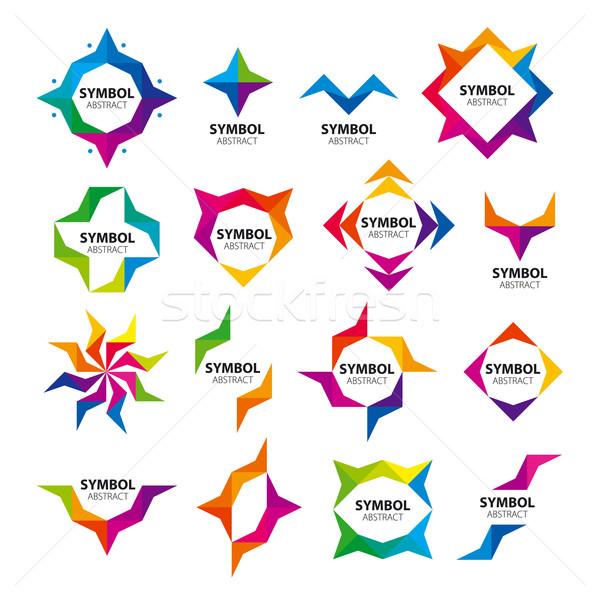 Büyük ayarlamak soyut vektör logolar güneş Stok fotoğraf © butenkow