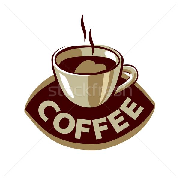 Stok fotoğraf: Vektör · logo · siyah · kahve · kalp · soyut