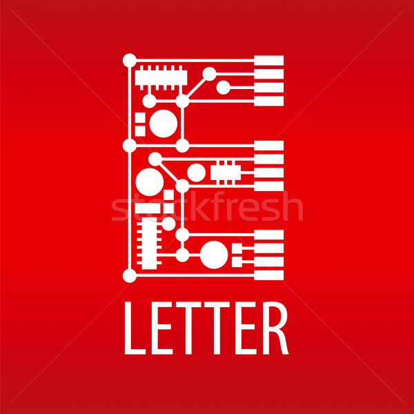 Stock photo: Abstract vector logo the letter E in the form of a chip