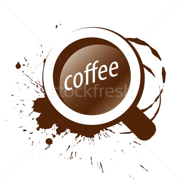 Vektor logo csésze kávé csobbanások terv Stock fotó © butenkow