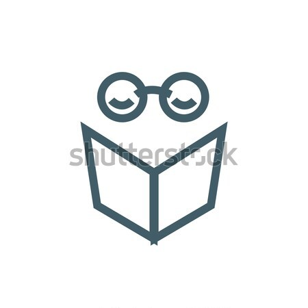 vector logo character with headphones reading a book Stock photo © butenkow