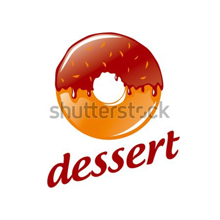 Abstract vector logo round donut with chocolate Stock photo © butenkow