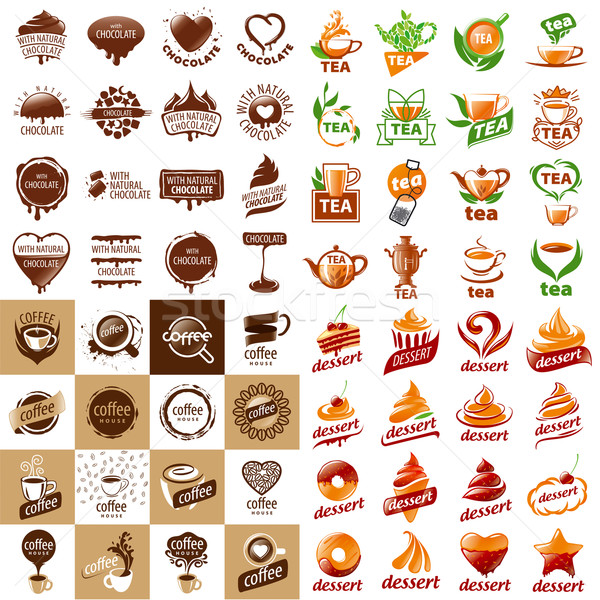 large set of vector logos hot drinks and desserts Stock photo © butenkow