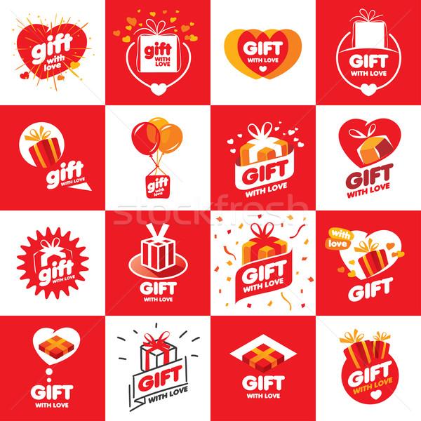 Coleção vetor logos presentes grande conjunto Foto stock © butenkow